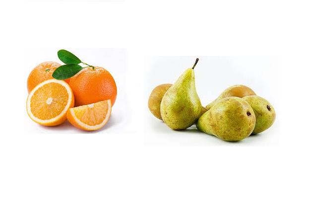 pomaranče a hrušky
